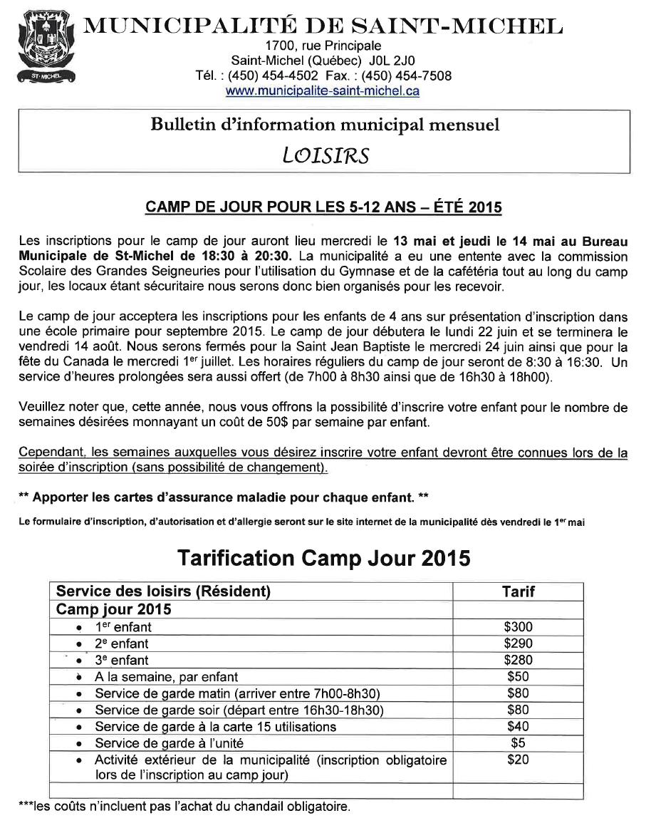 INSCRIPTION CAMP DE JOUR 2015